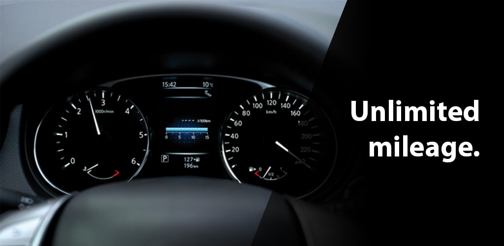 Unlimited  mileage in car rental with driver